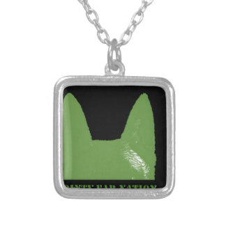 PEN Green on black Silver Plated Necklace