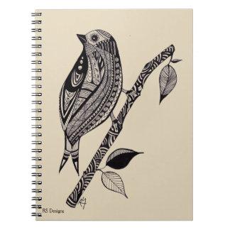 Pen & Ink Bird on a Branch Notebook