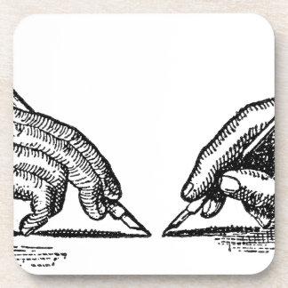 Pen Is Mightier Than the Sword Writer's Hands Coaster