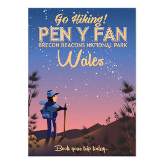 Pen Y Fan Wales hiking travel poster