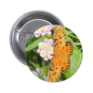 pencil artwork orange butterfly pinback button