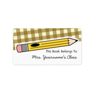 Pencil & Brown Gingham School Book Label Address Label