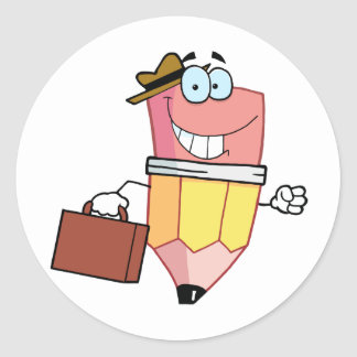 Pencil Cartoon Character Carrying A Briefcase Sticker