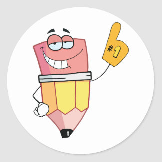 Pencil Cartoon Character Is Number One Round Sticker
