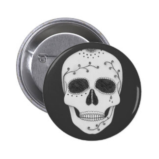 Pencil Drawing Day of the Dead Sugar Skull 6 Cm Round Badge