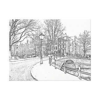 Pencil drawing from snowy Amsterdam in Netherlands Canvas Print