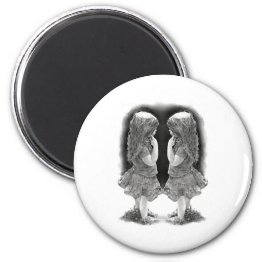 Pencil Drawing of Two Little Girls Face To Face Refrigerator Magnet