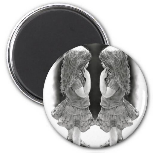 Pencil Drawing of Two Little Girls Face To Face Magnet