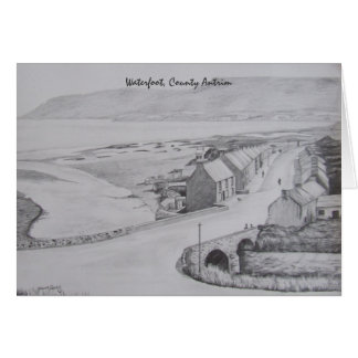 Pencil Drawing of Waterfoot, County Antrim by Joan Card