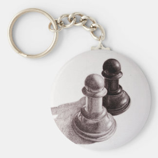 Pencil Drawn Pawns Chess Key Ring
