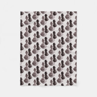 Pencil Drawn Pawns Pattern Chess Fleece Blanket
