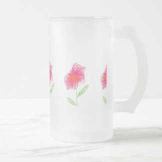 Pencil drawn pink minimalist flower frosted glass beer mug