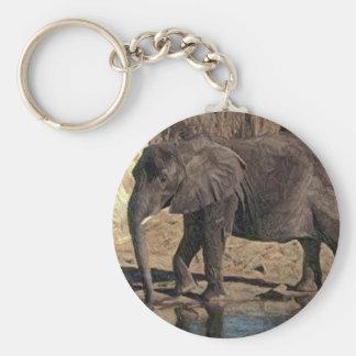 pencil elephant basic round button key ring