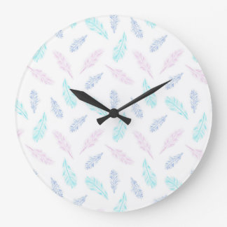 Pencil Feathers Large Round Wall Clock