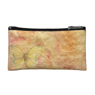 Pencil Pouch with Yellow Texture and Butterfly