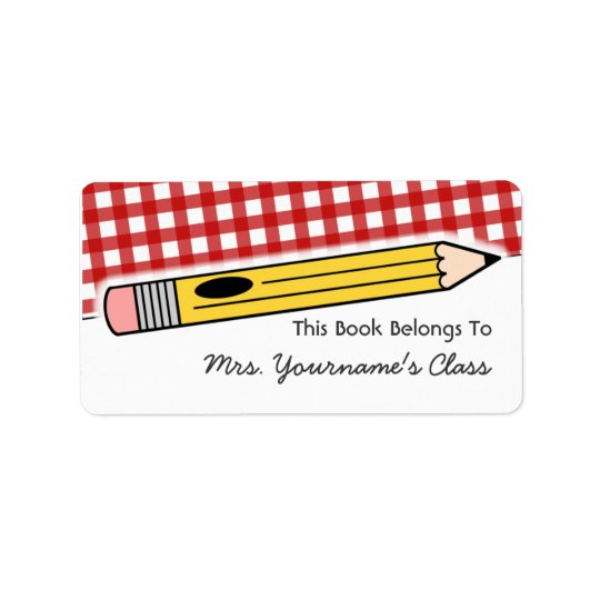 Pencil & Red Gingham School Book Label