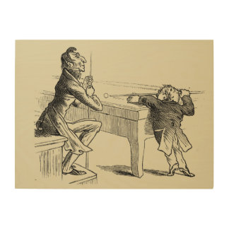 Pencil Sketch of Two Men Playing Pool Wood Print
