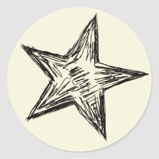 Pencil Sketched Black Outline Star Shape Classic Round Sticker