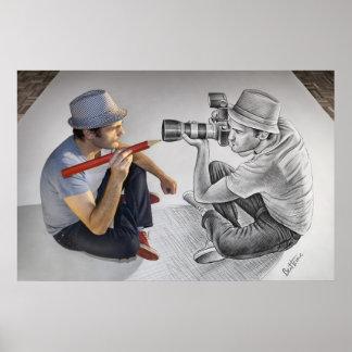 Pencil Vs Camera - 3D Mirror Poster
