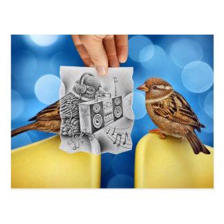 Pencil Vs Camera - Electro Bird Postcard
