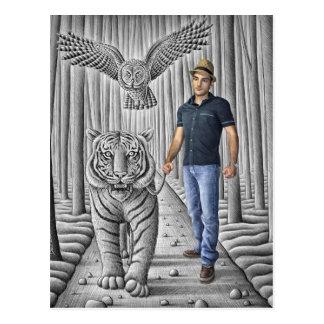 Pencil Vs Camera - Tiger, Owl, Man Postcard