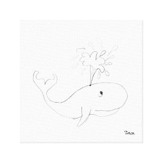 Pencil Whale Drawing Canvas Wall Art