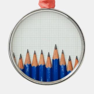 Pencils and graph paper metal ornament