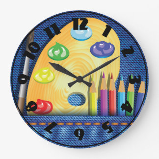 Pencils And Paintbrush Clock