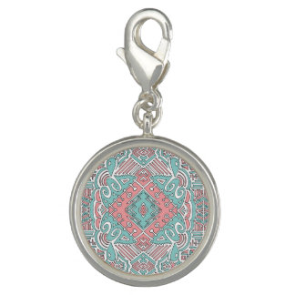 Pendentive round with reason pink and blue rhombus