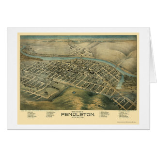 Pendleton, OR Panoramic Map - 1890's Greeting Card