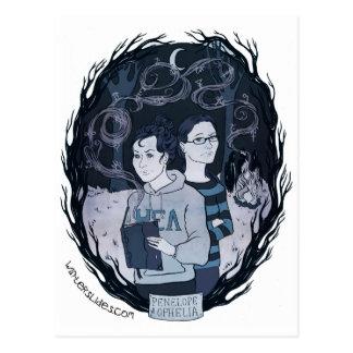 """Penelope & Ophelia"" Postcard - Winter Slides"