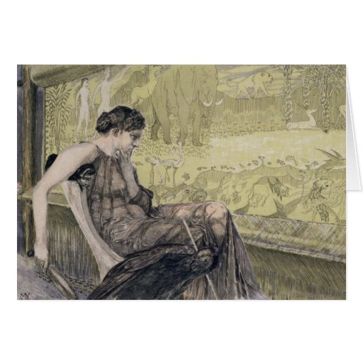 Penelope weaving a shroud for Laertes her father-i Greeting Cards