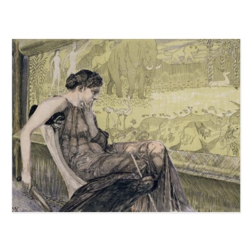 Penelope weaving a shroud for Laertes her father-i Post Cards