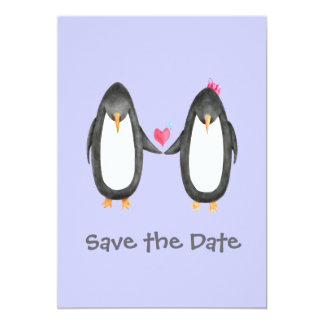 Pengin Luv Wedding Invite