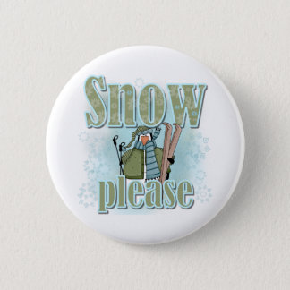 Pengin Ski Snow Please 6 Cm Round Badge