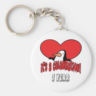Penguin 1st Celebration Basic Round Button Key Ring