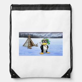 Penguin American Indian cartoon Drawstring Bag