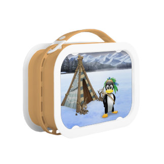 Penguin American Indian cartoon Lunch Box