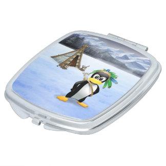 Penguin American Indian cartoon Makeup Mirrors