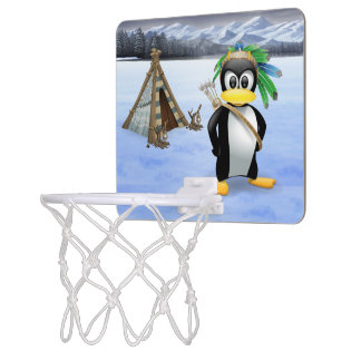 Penguin American Indian cartoon Mini Basketball Hoop