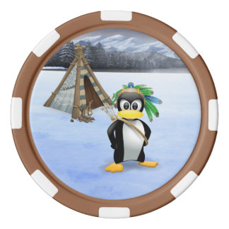 Penguin American Indian cartoon Poker Chips