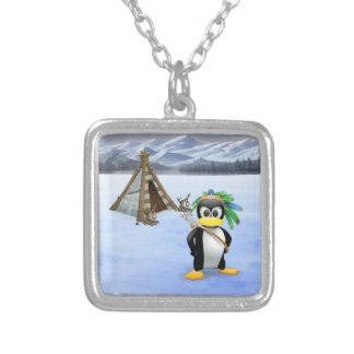 Penguin American Indian cartoon Silver Plated Necklace