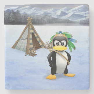 Penguin American Indian cartoon Stone Beverage Coaster