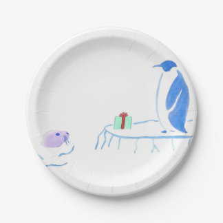 Penguin and Seal Exchange Gifts Paper Plate
