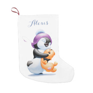 Penguin and Teddy Bear Personalized Stocking Small Christmas Stocking