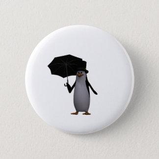 penguin and umbrella 6 cm round badge