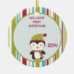 Penguin Baby 1st Christmas Customisable Ornament