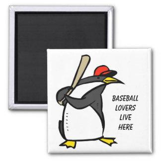 penguin baseball, Baseball loverslive here Square Magnet
