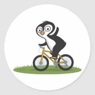 Penguin Biker Round Sticker