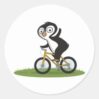 Penguin Biker Round Sticker